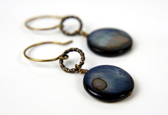 Stormy Night-Mother of Pearl Beads and Brass Earrings