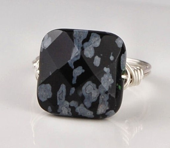BOGO SALE-Snowflake Obsidian Faceted Gemstone and Silver Wire Wrapped Ring