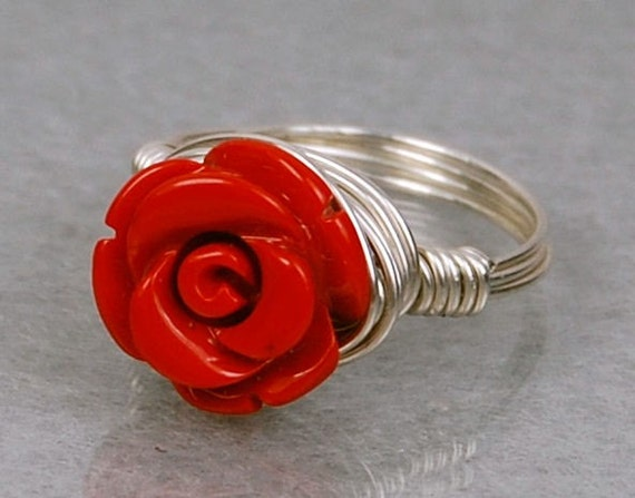 Wire Wrapped Ring- Sterling Silver with Red Gemstone Rose- Any Size- Size 4, 5, 6, 7, 8, 9, 10, 11, 12, 13, 14