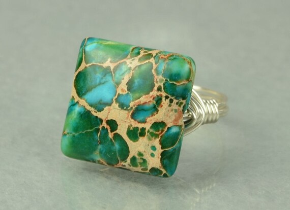 Sterling Silver Ring - Wire Wrapped  Square Imperial Jasper Gemstone- Any Size- Size 4, 5, 6, 7, 8, 9, 10, 11, 12, 13, 14