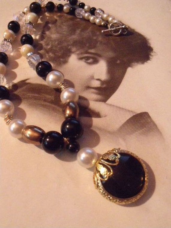 Necklace, black glass and pearl elegance