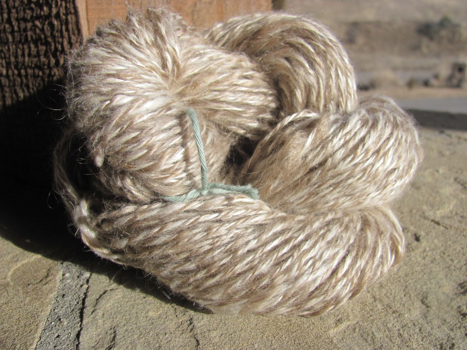 Handspun Yarn Natural Angora Goat Wool and by ShadyGrovePottery