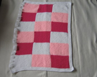 Handknitted Pink And White Baby Blanket