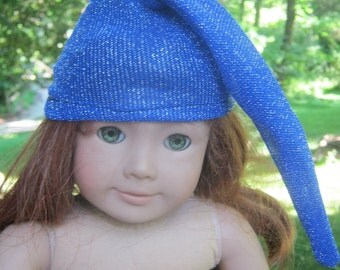 Doll Night Cap, blue sparkly hat for 18 inch doll like American Girl