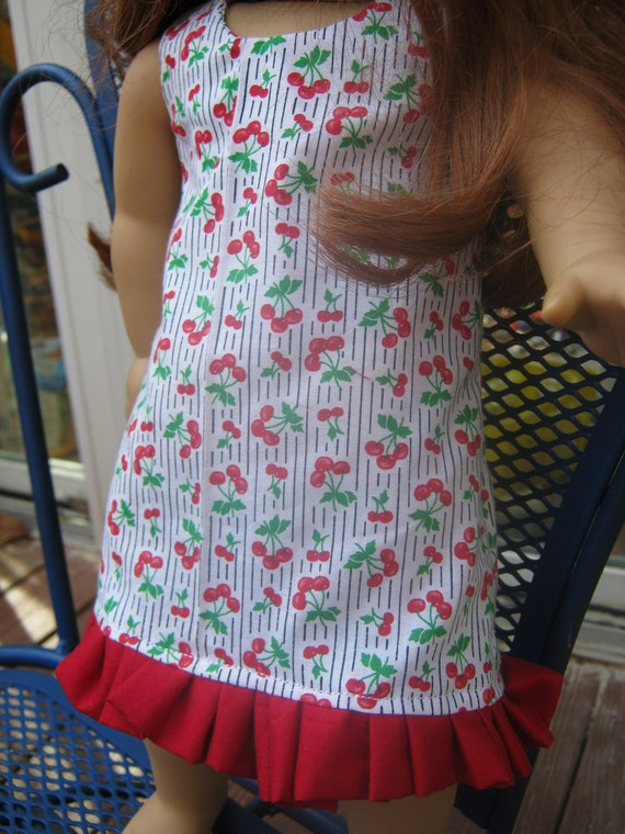 American Girl Clothes- cherry dress with red ruffle