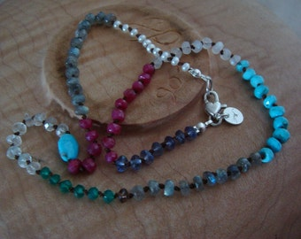 Mixed gemstones hand tied on brown silk with sterling heart clasp