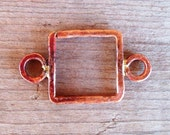 Large Artisan COPPER SQUARE Open LINK -20 x 34mm - Rustic Patina