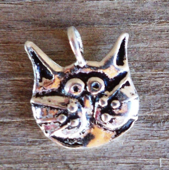 Artisan Sterling Silver KITTY CAT Charm - 10mm
