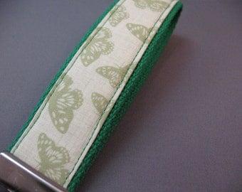 Fabric Keychain Fob -- Pale Green Butterflies