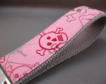 Fabric Keychain Fob -- Pink Skull and Crossbones