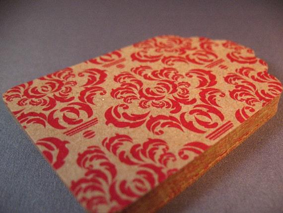 Kraft Gift Tags -- Red Damask Set of 20