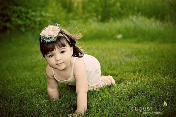 Vintage Girl, Little Women Flower Headband for baby, toddler, or little girl, Tea stained flower with script writing stamped