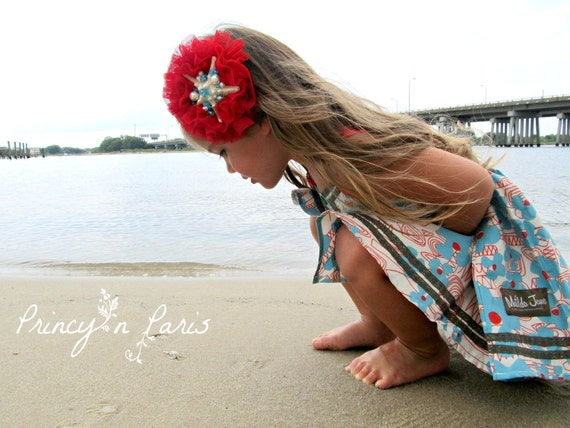 RESERVED for REBECCA, Mermaids Treasure, starfish centered headband for all ages