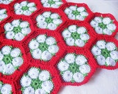 African Violet Crochet Placemat - Red Green White - Set Of Two - Placemats For Christmas Table Decoration