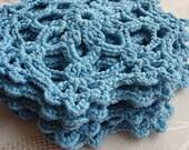 Crochet Blue Coaster - Handmade Coaster - Doily