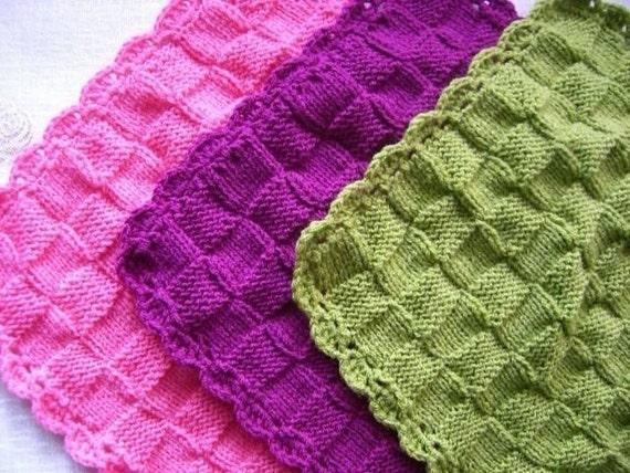 Hand Knit Washcloths - Dishcloths-Set Of Three - pink purple green - Handwoven Washcloths