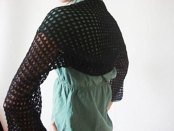 Crochet Black Shrug - Bolero - Handwoven Neckwarmer