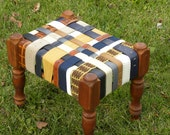 Vintage Cherry Leather BeltArt Footstool made with Recycled Belts - w Navy and Tan