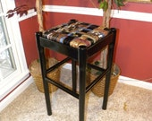 Musician's Black Guitar Stool/Bar Stool with seat made from recycled Leather Belts