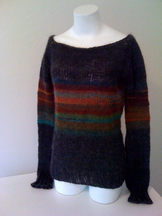 Supernova Knit Wool Sweater Alpaca Science Clothing Geekery Charcoal Grey Black Colorful Striped Hand Knit Warm Fall Autumn Women Gift