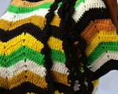 Vintage Crocheted Afghan Ripple Yellow Green Gold Brown Ivory
