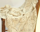Vintage Tablecloth Hand Crocheted Doily  Ecru Cotton Oval