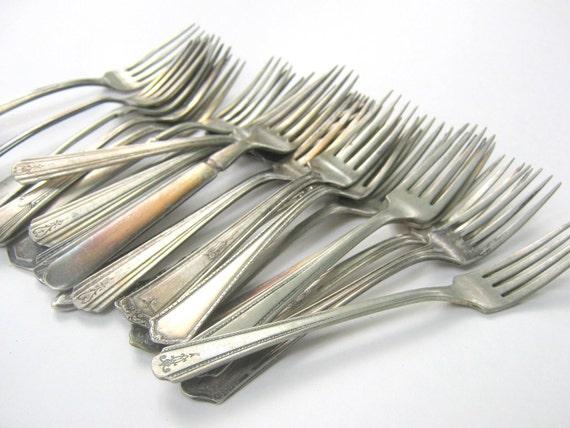Antique Tarnished Silver Forks Set Four