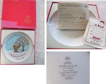 Vintage ZIGGY L E Christmas Plate In Box with COA
