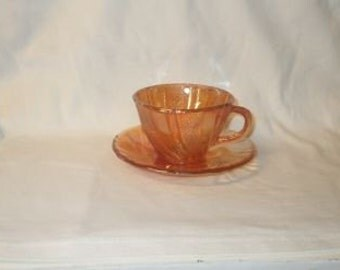 Vintage GORGEOUS Peach Lusterware Cup and Saucer Set