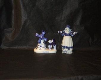 Vintage Lot Holland DELFT Figurine Lot Windmill Boy Girl Woman