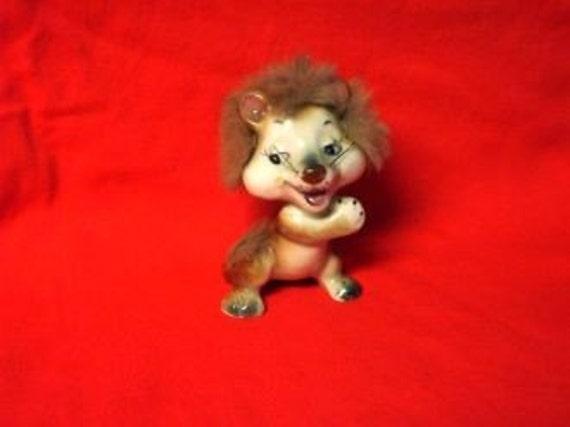 Vintage Japan ENESCO Lion Figurine with FUR Mane