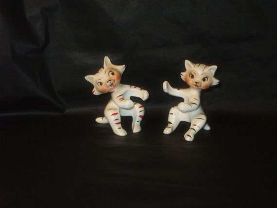 Vintage Japan Striped Kitty Cat Ceramic Candle Climbers Huggers Holders