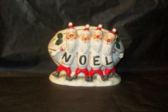 Vintage Japan Christmas RELPO Santa NOEL Football Planter
