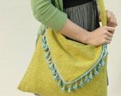 Eco Friendly Handbag Purse Reclaimed Vintage Fabric Lime Green Aqua LAST ONE
