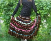 Upcycled Embellished Reclaimed Repurposed Skirt Boho Velvet Ribbons Galore