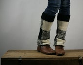 Upcycled Recycled Repurposed Sweater Ankle Warmers Black Cream Plaid