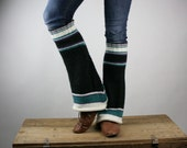Upcycled Recycled Repurposed Sweater Leg Ankle Warmers Stripes Black Purple White Turquoise