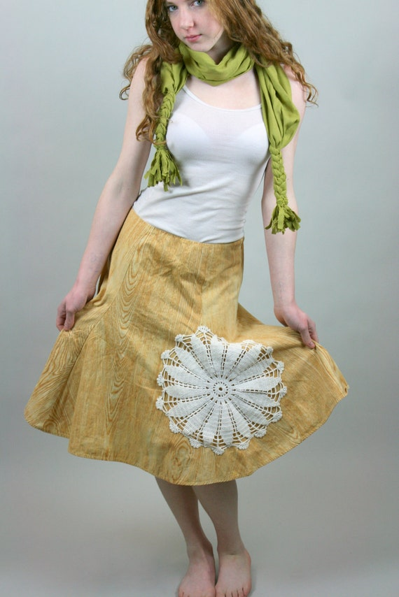 Upcycled Reclaimed Skirt Embellished Doily Mustard Yellow Wood Grain