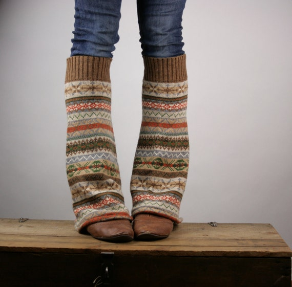 Upcycled Recycled Repurposed Sweater Leg Warmers Fair Isle Knit Brown Orange Camel