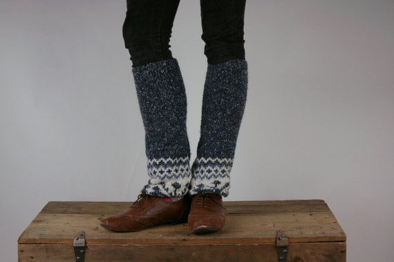 Upcycled Recycled Repurposed Sweater Leg  Warmers Fair Isle Knit Slate Blue Gray White
