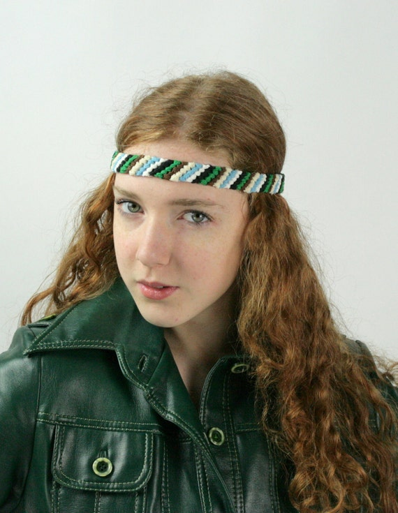 Grecian Head Band Knotted Vintage Lace Stripes Green Blue Brown White