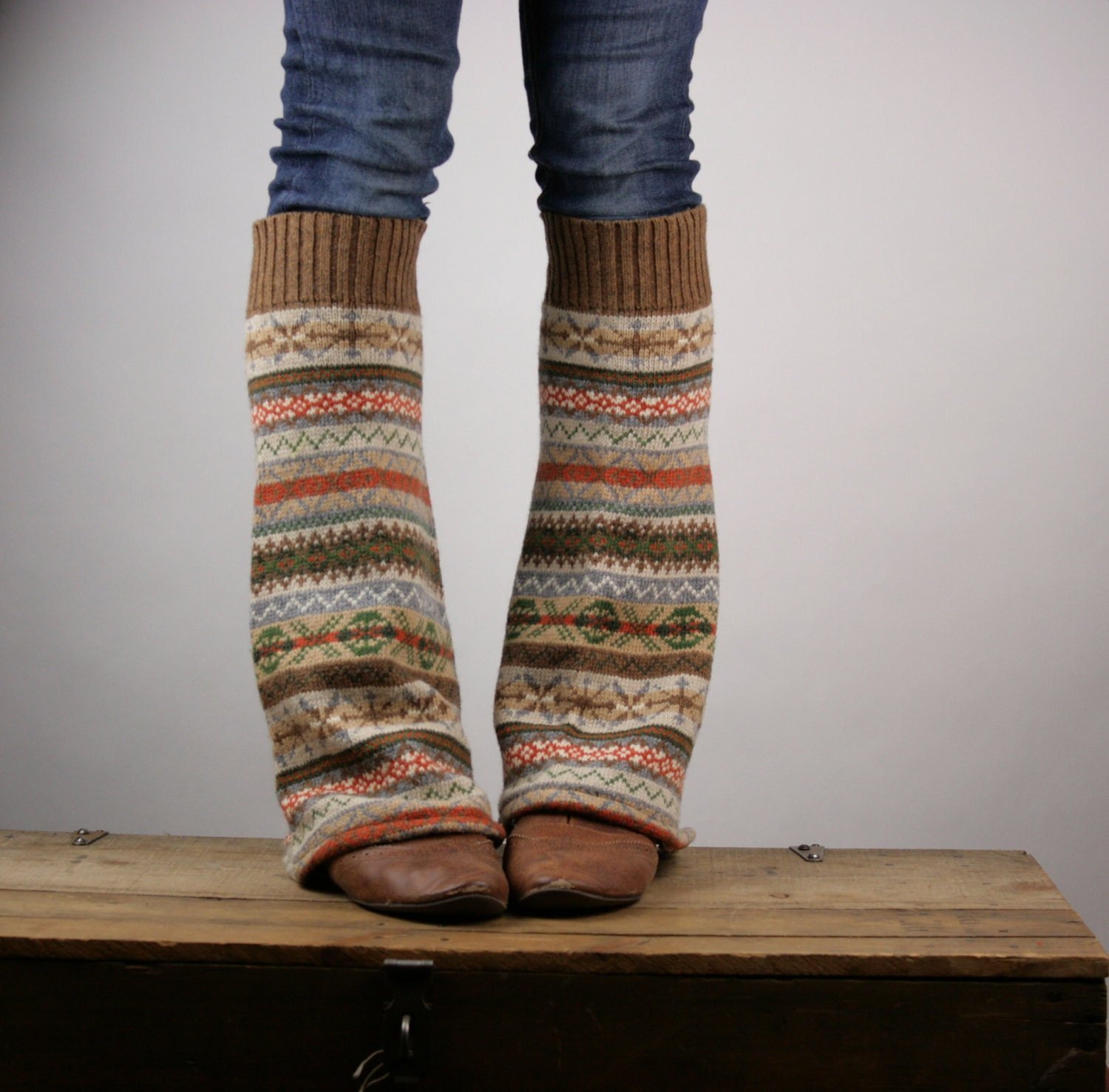 Upcycled Recycled Repurposed Sweater Leg Warmers Fair Isle