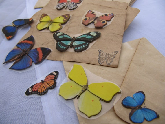 Tea Stained Note Cards, Envelopes, Stickers, Stationery, Butterfly Series, By Kelexso