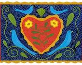 Blue Birds and Heart Card