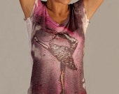 purple pink summer beautiful short sleeve top spring fashion tiedye one side printed