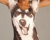 animal print, women t shirt dog print, wolf tshirt