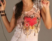 red melting heart love t-shirt tie dye new women listen to your romantic spring fashion one side printed valentines gift