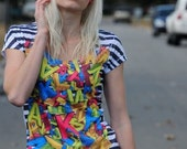 yellow red pink multi color t-shirt BOTH SIDE PRINTED letter spring fashion