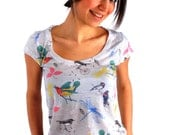 Spring Fashion, Sparrows Women T shirts - Spring fashion - Bird Women shirt - Both side printed - Fall fashion