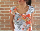 orange flying bird summer fashion special design women tshirt one side printed